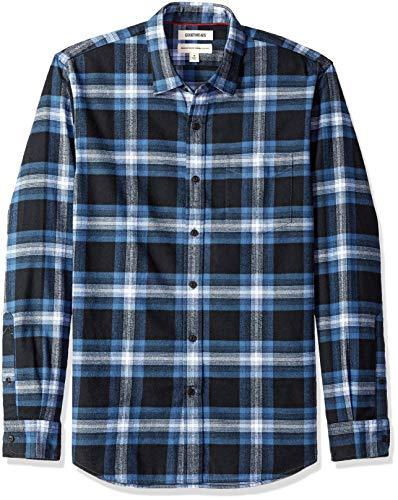 Goodthreads Men's Standard-Fit Long-Sleeve Brushed Flannel Shirt, Navy Blue Plaid, Medium Tall