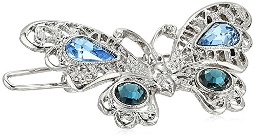 1928 Jewelry Womens Silver-Tone Light Sapphire and Montana Blue Crystal Butterfly Barrette Hair Accessory, 1.5