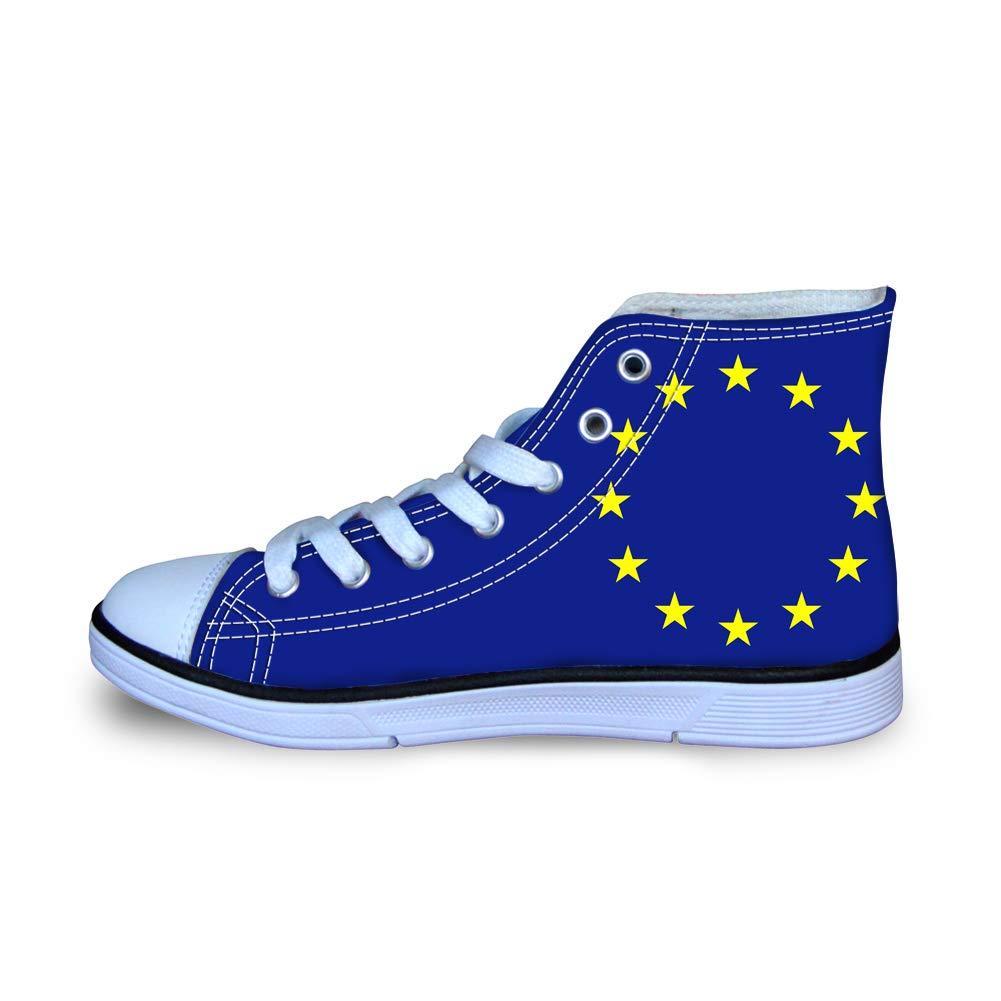 Canvas High Top Sneaker Casual Skate Shoe Boys Girls European Union EU Flag