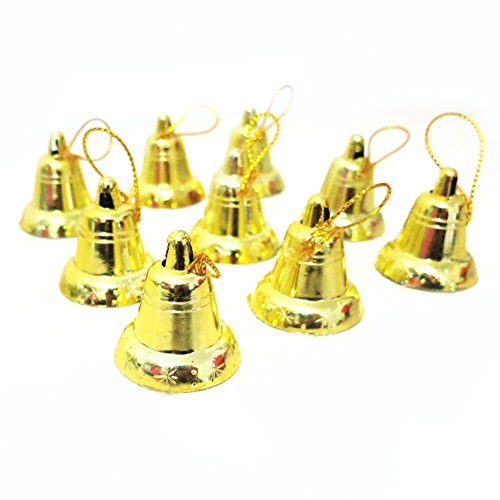 FAVOLOOK Christmas Bell, 9PCS Plastic Golden/Silver Decor Opening Jingle Bell Trumpet - Christmas Tree Decorations - Ornament Bell Gold