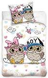 DREAME3 3D bed linen owls for girls and boys 100% cotton children's bed linen 135 x 200 cm (Oeko Tex Standard 100)