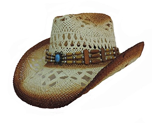 Toyo Tea Stained Western Cowboy Hat with Bead Band and Turquoise Stone