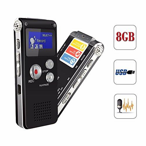 ELEGIANT 8GB digitale LCD-Bildschirm Stereo Diktiergerät Aufnahmegerät Sprachaufnahme voice Recorder MP3 Player im Büro Konferenz Schule Seminar usw