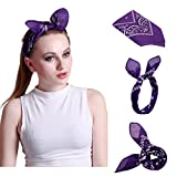 HDE Women's Rockabilly Fashion Hair Band Wrap Bunny Ear Tie Bandana Doo Rag (Purple Paisley)