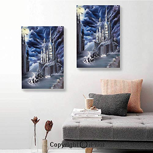 SfeatruRWF Canvas murals,Island with Ancient Castle Full Moon Cloudy Dramatic Sky Foggy Weather,16