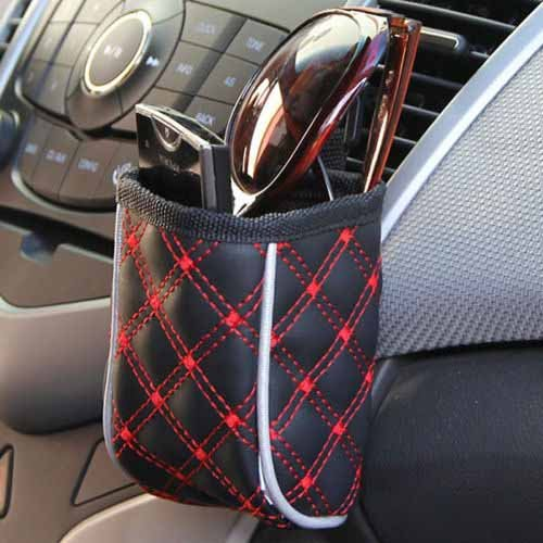 DEAL OF 2 Car Air Vent Mobile phone holder pocket storage, pouch bag organizer RED