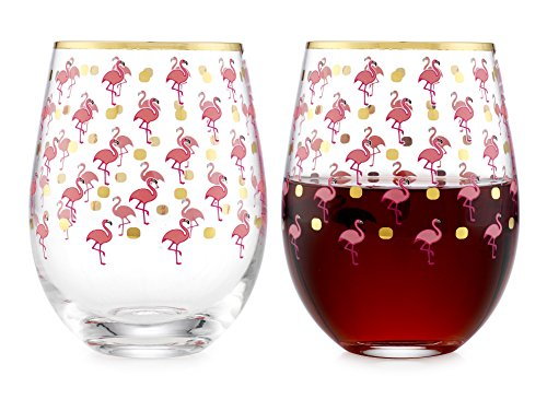 Elegant Home Personalized Gift Set of Two 19 Oz. Stemless Wine Glass - unique Novelty - Gag Gift. (Flamingo) -