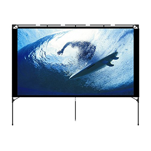 Outdoor Projector Screen - Foldable Portable Outdoor Front Movie Screen, Setup Stand, Transportable Full Set Bag for Camping and Recreational Events,74.4 Inch (16:9) by Vamvo