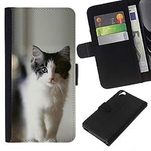 KLONGSHOP // Tirón de la caja Cartera de cuero con ranuras para tarjetas - NEGRO Y GRIS CAT - HTC Desire 820 //