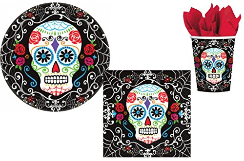 Sugar-Skull-Day-of-The-Dead-Party-Supply-Pack-Bundle-Includes-Paper-Plates-Napkins-Cups-for-18-Guests