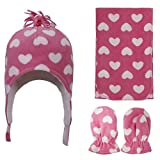 SimpliKids Sherpa Lined Beanie, Scarf & Gloves Set, Pink Heart Print, 2-4 Year