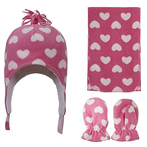 ned Beanie, Scarf & Gloves Set, Pink Heart Print, 2-4 Year ()