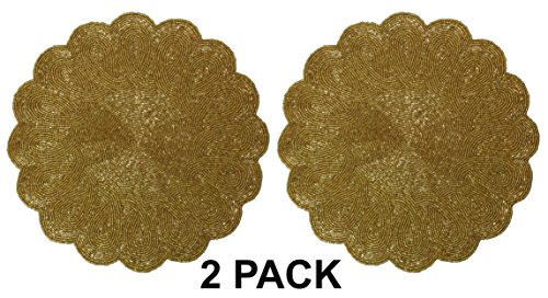 Cotton Craft - 2 Pack Beaded Placemat Set - Scalloped Round