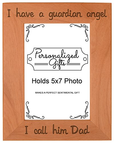 - ThisWear Dad Memorial Frame I Have a Guardian Angel Memories Frame Natural Wood Engraved 5x7 Portrait Picture Frame Wood