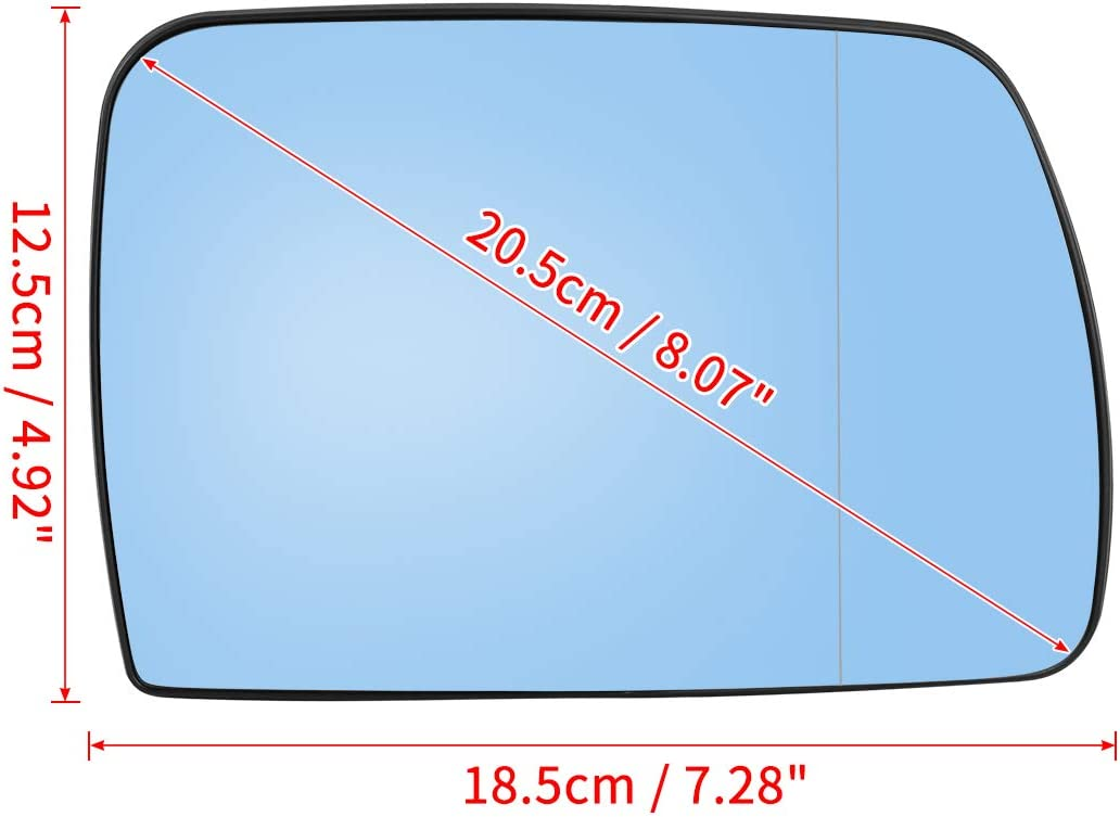 X AUTOHAUX Car Passenger Right Side Mirror Glass W//Backing Plate Heated for BMW X5 E53 2000-2006