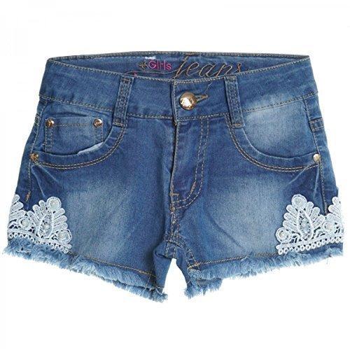 Kinder Mädchen Kurze Hose Bermuda Shorts Sommer Capri Pump Pants Jeans 20408, Farbe:Blau;Größe:128