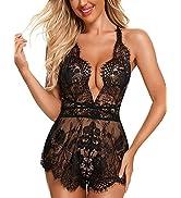 RSLOVE Women Sexy Lingerie Lace Teddy Bodysuit Deep V Backless Sleeveless Romper Sleepwear