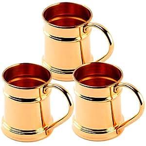 Rime India Pure Copper Hero Moscow Mule Mug , Capacity - 600 ML,Set of 3