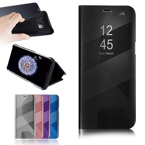 best loved 100% top quality cheap RLGPBON Coque Etui Samsung Galaxy S8 Plus Case Housse Support à Rabat Clear  View Cover Flip Case Miroir Antichoc Téléphone Portable,Noir