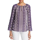Tory Burch Womens Silk Printed Casual Top Purple 14