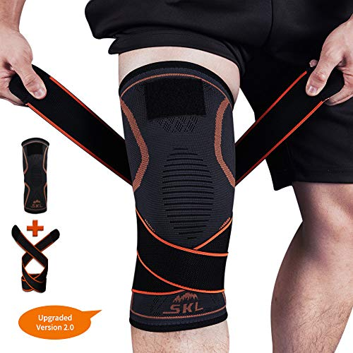 Knee Brace, SKL Support Compression Sleeves with Straps for Pain Relief Meniscus Tear Arthritis Running Basketball Cycling ACL MCL Quick Recovery Men & Women – Single