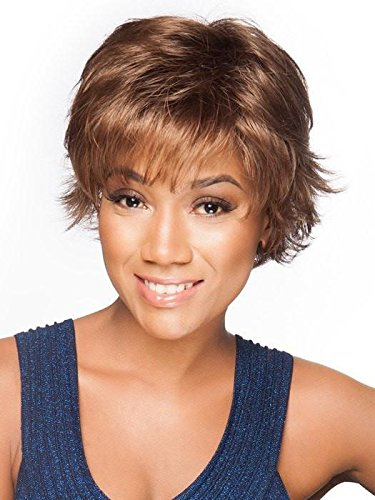 Voltage Large Cap Wig Color R829S+ GLAZED HAZELNUT - Raquel Welch Wigs Short Textured Layers Wispy Bangs Synthetic Women's Memory Capless Flared Neckline by Raquel Welch