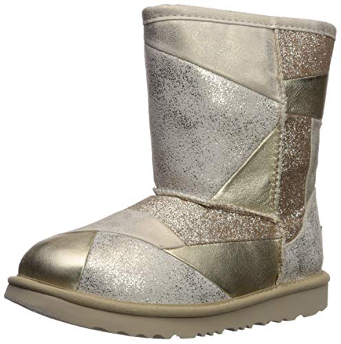 (UGG Girls' K Classic Short II Patchwork Fashion Boot, Gold, 2 M US Little Kid)