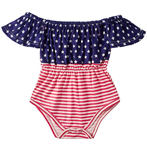 American Girl Infant Creeper - Independence Day Gift Navy Tibetan Blue Red White Stripe Jumpsuit Summer Cotton Bodysuit Colorful Design Cute Funny Baby Onesie Gift Novelty Tshirt Costume Babies Bodysuit 1pcs