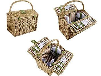 Sektgläser Weiden Picknick Korb Picknickkorb für 4 Personen Besteck Teller