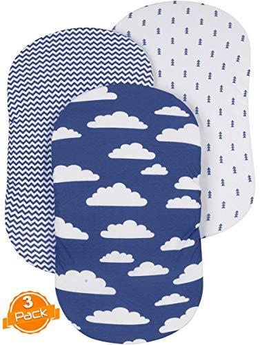 (Bassinet Sheet Set | Cradle Fitted Sheets for Bassinet Mattress/Pads | Super Soft Jersey Knit Cotton | 3 Pack | 150 GSM |