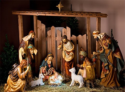 AOFOTO 10x7ft Christ Birth Backdrop Father Shepherd Jesus Nativity Photography Background Lamb Stable Saint Pray Bless Baptism Bible The Epiphany of Our Lord Photo Studio Props Church Play Decoration