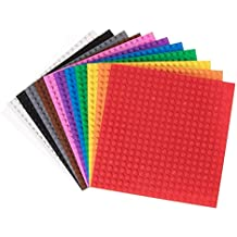 """Classic Baseplates   100% Compatible with All Major Building Brick Brands   Stackable Bases   12 Tight Fit Base Plates in Rainbow Colors 6"""" x 6"""""""