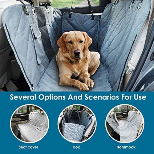 PAWBEE cubierta de asiento trasero impermeable para mascotas, antideslizante, a prueba de arañazos – SUV, camioneta, coche, hamaca de mascota, con ventana frontal de malla, resistente, para perros 6