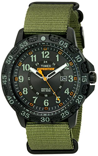 Timex Men's TW4B03600 Expedition Gallatin Green/Black Nylon Slip-Thru Strap Watch