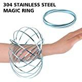 HAS 304 Stainless Steel Firm Flow Ring Magic Bracelet Toy for Stress Relief Kinetic Science Educational Spring Ring Multi - Sensory Interactive Cool Dance Prop (Blue)