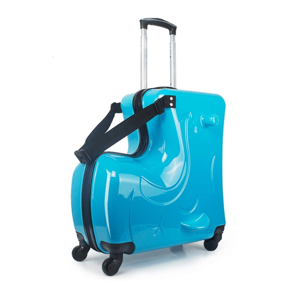 Suitcase for Kids,Children Ride on Luggage Set,Unisex Travel Tots Kids Trunk (Blue, 24inch) by wangbaochang2017