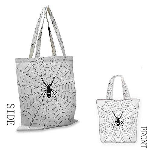 Shopping Bags for Home & Kitchen Spider Web Poisonous Bug Venom Thread Circular Cobweb Arachnid Cartoon Halloween Icon Shoulder Tote and HandbagBlack White]()