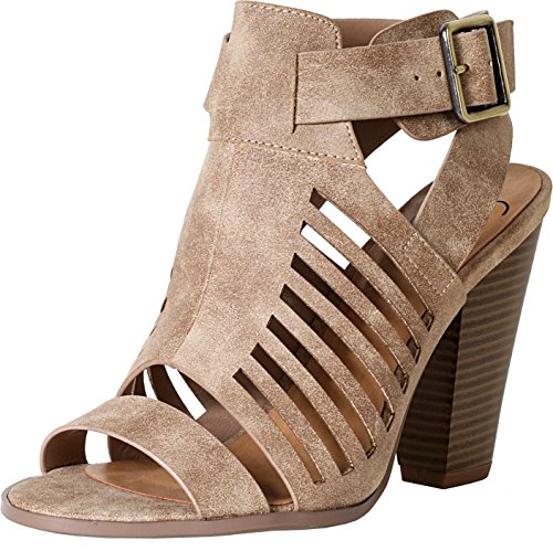 - SODA Delicious Yummy Cutout Stacked Heel Sandal,Taupe Pu,9