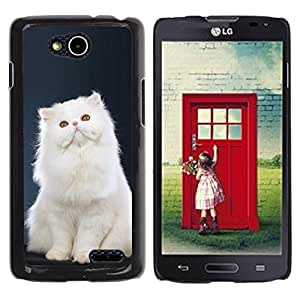 Be Good Phone Accessory // Dura Cáscara cubierta Protectora Caso Carcasa Funda de Protección para LG OPTIMUS L90 / D415 // White Persian Longhair Cat Pink Nose
