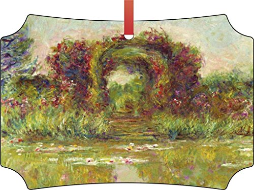 (Claude Monet's Flowering Arches at Giverny-TM Double-Sided Berlin Aluminum Holiday Hanging Tree Ornament. Made in the USA!)