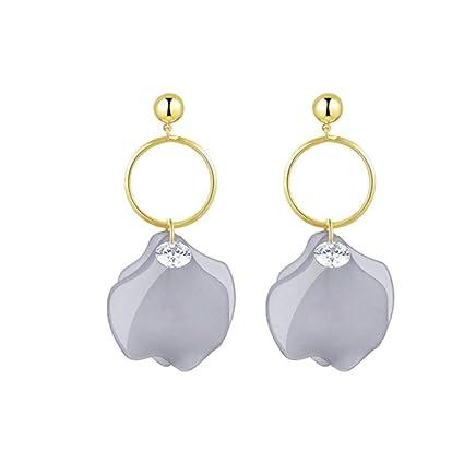 YOYOYAYA Aretes Pétalos Diamantes Plata 925 Agujas Mujeres Niñas Adornos Exquisito Partes Fechas Elegancia Regalos