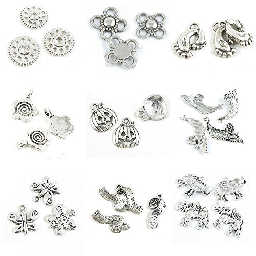 30 PCS Jewelry Making Charms Thai Elephant Tape Measure Butterfly Handmade Signs Tag Snail Leaf Halloween