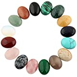 Mutilcolor 12pcs 10x14mm Oval Teardrop Random Color CAB Cabochon Beads Crystal Quartz Stone Wholesale for Jewelry Making(No Holes)