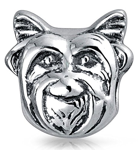 Face Sterling Silver Charm - Bling Jewelry Yorkie Dog Face Animal Charm Bead .925 Sterling Silver