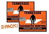 Tennessee-SASQUATCH HUNTING PERMIT LICENSE TAG DECAL TRUCK POLARIS RZR JEEP WRANGLER STICKER 2-PACK!-TN