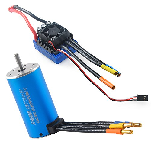 Motor Truck (3670 2150KV 5mm 4P Sensorless Brushless Motor with 80A Brushless ESC(Electronic Speed Controller) for 1/8 1/10 Monster Truck Truggy Cars by RCRunning(Blue))