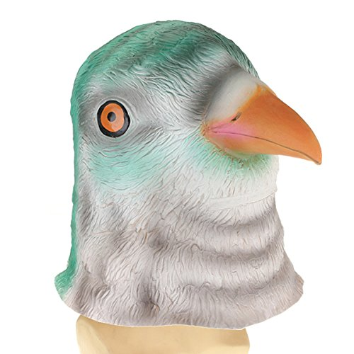 [Bird Head Mask Creepy Animal Halloween Costume Theater Prop] (Cow Head Hat Adult)