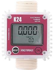 K24 Digital Turbine Flow Meter, Diesel Oil Fuel Electronic Flow Meter Gauge G1 Inlet/Outlet Thread for Chemicals Liquid Water, Red