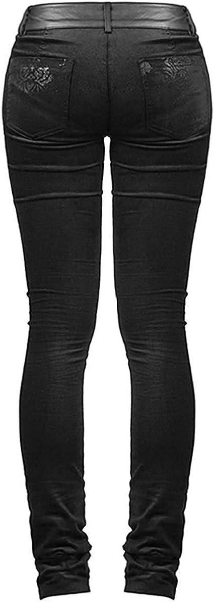 Punk Rave Victoriana Damask Skinny Jeans Trousers Pants Black Goth Steampunk VTG