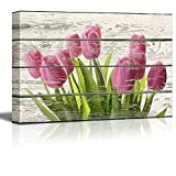 Wall26 - Bouquet of Beautiful Pink Tulips Artwork - Rustic Canvas Wall Art Home Decor - 12x18 inches
